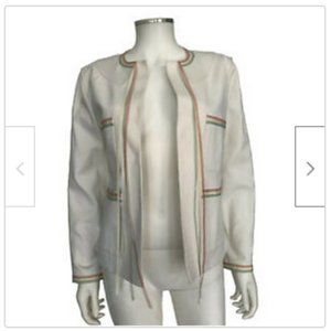 Chanel 2004 Collection White Cream Ribbon Jacket